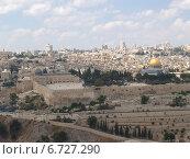 Купить «Панорама Иерусалима, вид на Храмовую гору и древнюю крепостную стену. Израиль», фото № 6727290, снято 9 октября 2012 г. (c) Ирина Борсученко / Фотобанк Лори