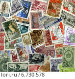 Купить «Фон из почтовых марок СССР 1940-60х годов», эксклюзивное фото № 6730578, снято 29 ноября 2014 г. (c) Иван Марчук / Фотобанк Лори