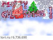 Дед Мороз, сидящий на подарках и снеговик. Стоковая иллюстрация, иллюстратор Олег Павлов / Фотобанк Лори