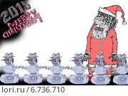 Дед Мороз - робот и снеговики-роботы. Стоковая иллюстрация, иллюстратор Олег Павлов / Фотобанк Лори