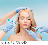 Купить «woman face and beautician hands with syringes», фото № 6738646, снято 7 января 2014 г. (c) Syda Productions / Фотобанк Лори