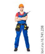 Купить «Handyman with tools full portrait isolated», фото № 6741238, снято 24 февраля 2013 г. (c) Валуа Виталий / Фотобанк Лори