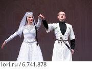 Купить «Бекоева Диана и Ацамаз Сатцаев танцуют кавказский народный парный Картули на Всероссийском конкурсе артистов балета и хореографов 2014 год», фото № 6741878, снято 23 ноября 2014 г. (c) Николай Винокуров / Фотобанк Лори