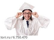 Купить «Young male student graduated from high school on white», фото № 6750470, снято 3 декабря 2013 г. (c) Elnur / Фотобанк Лори
