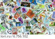 Купить «Фон из почтовых марок разных стран (XX в.), объединенных темой Летние виды спорта», эксклюзивное фото № 6756102, снято 29 ноября 2014 г. (c) Иван Марчук / Фотобанк Лори