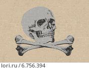 Череп на гранжевом кирпичном фоне. Стоковая иллюстрация, иллюстратор Yevgen Kachurin / Фотобанк Лори