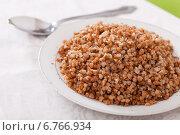 Купить «boiled buckwheat porridge in plate», фото № 6766934, снято 18 ноября 2012 г. (c) Яков Филимонов / Фотобанк Лори