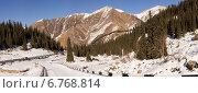 Зимняя дорога к Большому Алматинскому озеру. Стоковое фото, фотограф Антон Жигаев / Фотобанк Лори