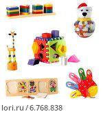 Купить «Коллекция игрушек для детей младшего возраста, изолированно на белом фоне», фото № 6768838, снято 22 сентября 2018 г. (c) Йомка / Фотобанк Лори