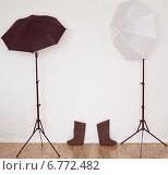 Домашняя фотостудия, стойки, зонтики, валенки. Стоковое фото, фотограф Александр Самолетов / Фотобанк Лори