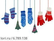 Купить «Варежки и пара рождественских елок», фото № 6789138, снято 17 ноября 2013 г. (c) Дмитрий Грушин / Фотобанк Лори