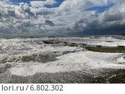 Черное море, шторм. Пляж в посёлке Дивноморское. Стоковое фото, фотограф Dmitry29 / Фотобанк Лори
