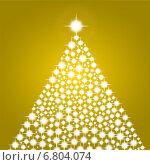 Купить «Блестящая Рождественская елка на золотом фоне», иллюстрация № 6804074 (c) Мастепанов Павел / Фотобанк Лори