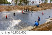 Купить «Гидроизоляция бетонной подготовки фундаментной политы», эксклюзивное фото № 6805406, снято 20 сентября 2005 г. (c) Владимир Чинин / Фотобанк Лори