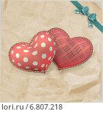 Купить «Два красных сердечка на серой бумаге», иллюстрация № 6807218 (c) Владимир / Фотобанк Лори