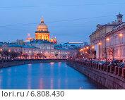 Купить «Вечерний вид набережной реки Мойки. Санкт-Петербург», фото № 6808430, снято 16 декабря 2014 г. (c) Румянцева Наталия / Фотобанк Лори