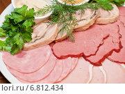 Купить «Мясо и ветчина с соусами и зеленью», фото № 6812434, снято 31 октября 2014 г. (c) Jan Jack Russo Media / Фотобанк Лори
