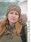 Купить «Портрет женщины в зимней куртке и вязаной шапочке», фото № 6816210, снято 16 марта 2013 г. (c) Землянникова Вероника / Фотобанк Лори