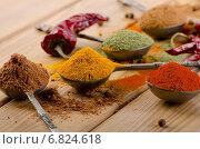 Купить «Selection of dried spices and chilli .», фото № 6824618, снято 30 ноября 2014 г. (c) Tatjana Baibakova / Фотобанк Лори