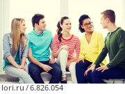 Купить «five smiling teenagers having fun at home», фото № 6826054, снято 29 марта 2014 г. (c) Syda Productions / Фотобанк Лори
