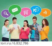 Купить «group of teenagers with smartphones and tablet pc», фото № 6832786, снято 22 июня 2014 г. (c) Syda Productions / Фотобанк Лори