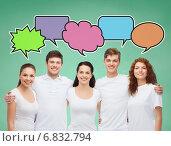 Купить «group of smiling teenagers with text bubbles», фото № 6832794, снято 22 июня 2014 г. (c) Syda Productions / Фотобанк Лори