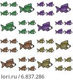 Купить «Узор с декоративными рыбками на белом фоне», иллюстрация № 6837286 (c) Astronira / Фотобанк Лори