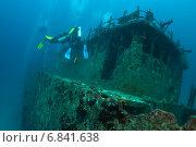 Купить «Дайверы осматривают затонувшее судно», фото № 6841638, снято 11 февраля 2013 г. (c) Сергей Дубров / Фотобанк Лори