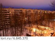 Вид на район Гольяново в Москве ранним утром (2014 год). Редакционное фото, фотограф lana1501 / Фотобанк Лори