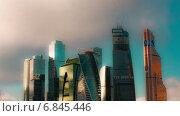 """Купить «Международный бизнес-центр """"Москва-Сити"""", 27 декабря, 2014 г, Москва, Россия. Таймлапс.», видеоролик № 6845446, снято 28 декабря 2014 г. (c) Серёга / Фотобанк Лори"""