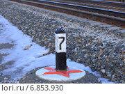 Купить «Пикет (пикетный знак) на обочине железнодорожного пути», эксклюзивное фото № 6853930, снято 3 ноября 2014 г. (c) Анатолий Матвейчук / Фотобанк Лори