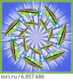 Декоративная мандала с рыбками плывущими в водовороте. Стоковая иллюстрация, иллюстратор Astronira / Фотобанк Лори
