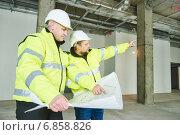 Купить «Construction builder workers», фото № 6858826, снято 10 декабря 2014 г. (c) Дмитрий Калиновский / Фотобанк Лори
