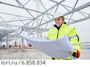 Купить «Construction builder worker», фото № 6858834, снято 14 декабря 2014 г. (c) Дмитрий Калиновский / Фотобанк Лори
