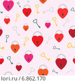 Купить «Фон с красными замками и ключами», иллюстрация № 6862170 (c) Сергей Антипенков / Фотобанк Лори
