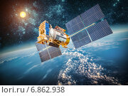 Купить «Space satellite over the planet earth», фото № 6862938, снято 9 февраля 2013 г. (c) Андрей Армягов / Фотобанк Лори