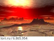 Купить «Чужая планета. Скалы и озеро», иллюстрация № 6865954 (c) Parmenov Pavel / Фотобанк Лори