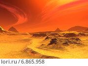 Чужая планета. Скалы и небо. Стоковая иллюстрация, иллюстратор Parmenov Pavel / Фотобанк Лори