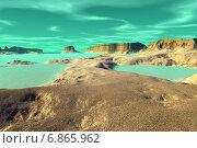 Купить «Чужая планета. Скалы и озеро», иллюстрация № 6865962 (c) Parmenov Pavel / Фотобанк Лори