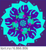 Декоративная мандала с рыбками. Стоковая иллюстрация, иллюстратор Astronira / Фотобанк Лори