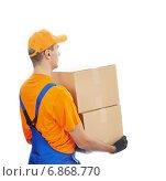 Купить «delivery man service», фото № 6868770, снято 1 октября 2014 г. (c) Дмитрий Калиновский / Фотобанк Лори