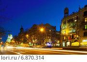 Купить «Night view of Passeig de Gracia in Barcelona», фото № 6870314, снято 27 марта 2019 г. (c) Яков Филимонов / Фотобанк Лори