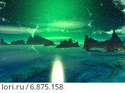 Чужая планета. Скалы и рассвет. Стоковая иллюстрация, иллюстратор Parmenov Pavel / Фотобанк Лори