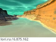Купить «Чужая планета. Скалы и озеро», иллюстрация № 6875162 (c) Parmenov Pavel / Фотобанк Лори