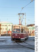 Купить «Смоленск. Трамвай КТМ-5М3 (71-605). Маршрут № 3 на Вокзальном кольце», фото № 6877578, снято 7 января 2015 г. (c) Алексей Шаповалов (Стерх) / Фотобанк Лори