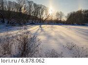 Купить «Морозный рассвет на реке Красивая Меча в Тульской области», фото № 6878062, снято 6 января 2015 г. (c) Валерий Боярский / Фотобанк Лори