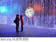 """Купить «Праздничная инсталляция у центрального входа в парк """"Сокольники"""" в Москве вечером», эксклюзивное фото № 6878850, снято 8 января 2015 г. (c) lana1501 / Фотобанк Лори"""