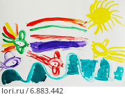 Купить «Детский рисунок гуашью: Золотая рыбка и рыбки-бабочки», иллюстрация № 6883442 (c) Наталья Горкина / Фотобанк Лори