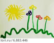 Купить «Детский рисунок гуашью: Цветочная поляна и солнышко», иллюстрация № 6883446 (c) Наталья Горкина / Фотобанк Лори