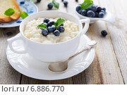 Купить «Рисовая каша с голубикой в белой тарелке», фото № 6886770, снято 16 февраля 2014 г. (c) Марина Славина / Фотобанк Лори